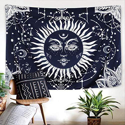 Ditiao Psychedelic Black Sun God tapijt, Apollo Boho Art-Astrologie tapijt, voor magische hekwerk mysterious psychische divination wandkleed 150x200