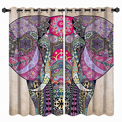 VividHome Indian Mandala Curtain Elephant Window Curtains Set Apartment Tapestry Indian Drape Kitchen Bedroom Decor 2 Panel Urban Window Treatments Valances