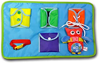Owl Learn to Dress Book Cloth Book - Zip, Snap, Button, Buckle, Lace & Tie, Fine Motor Skills Toys, Learning Basic Life Skills Toy,Early Development Toys Soft Cloth Book