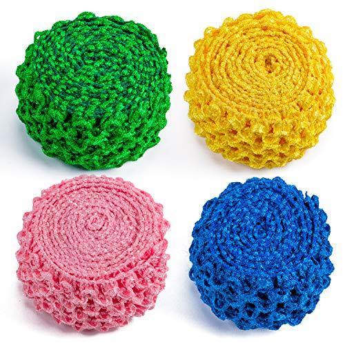 RUSPEPA Tissu Stretch Élastique De 4 Cm De Largeur, Haut en Tube Au Crochet pour Bandeaux/Ceintures/Drees Tutu - 1,82 M/Rouleau (Bleu Royal/Jaune/Vert/Rose)