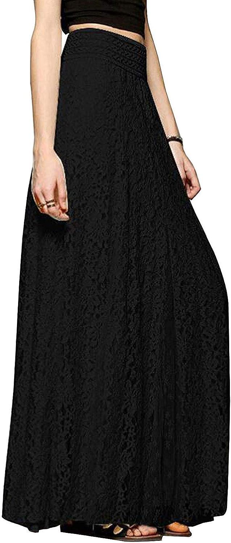 CHARTOU Womens Elegant Floral Lace Elastic High Waist Pleated Maxi Long Beach Skirts