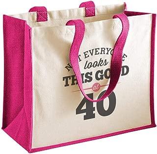 40th Birthday Keepsake Funny Gift Bag for Women Novelty Ladies Female Shopping Present Tote Idea