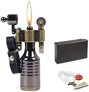 Metal Mini Portable Pocket Flint Wheel Oil Petrol Cigarette Lighter with 7 Flints and 1 Wick