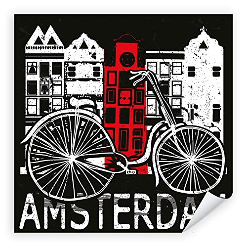 Postereck - 2275 - Amsterdam Plakat, Hauptstadt Niederlande Fahrrad - Spruch Schrift Wandposter Fotoposter Bilder Wandbild Wandbilder - Leinwand - 30,0cm x 30,0cm