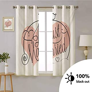 HouseLook Wedding -Decoration Thermal Insulated Drapes Stylized Hand Writing of Just Married on Pink Heart Tulip Flower Art Print -Blackout Curtains for Girls Room W55 x L72 Inch Coral Black White