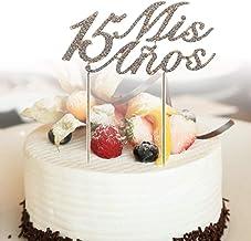 YFairy Decoración para Tarta – Brillante número 15 Mis Anos Letras decoración para Tarta Rhinestone aleación Cupcake Picks Fiesta de cumpleaños Suministros de decoración