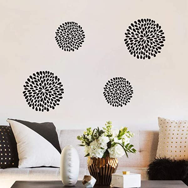 FlyWallD Rain Drop Flower Wall Decal Fireworks Sticker For Bedroom Living Room Art Decor
