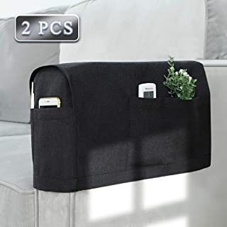 Joywell Linen Armrest Covers for Living Room Anti-Slip Sofa Arm Protector for Dogs, Cats, Pets Armchair Slipcover for Recliner with 4 Pockets for TV Remote Control, Phone, Set of 2, Black