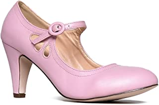 4e3b8b02664 J. Adams Pixie Mary Jane - Vintage Retro Round Toe Ankle Strap Low Kitten  Heels