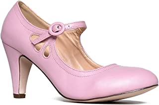 Mary Jane Pumps - Low Kitten Heels - Vintage Retro Round Toe Shoe With Ankle Strap - Pixie By J. Adams