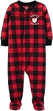 Carter's 1-Piece PJ's Pajama Santa Buffalo Plaid Fleece Sleeper/Footie
