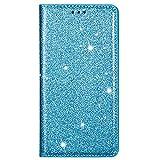 Blllue Funda tipo cartera compatible con Samsung A32 5G, Ultra Thin Glitter Slim Folio Flip Cover para Galaxy A32 5G - Azul cielo