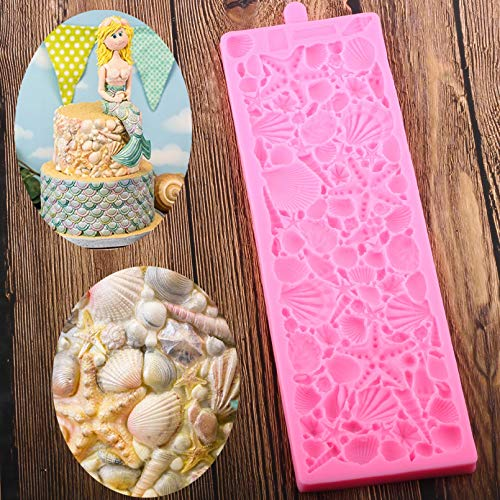 CSCZL 3D coquilles étoile de mer conque moule en Silicone bricolage Mariage Anniversaire gâteau frontière outils de décoration Cuisine cuisson Fondant moules à Chocolat