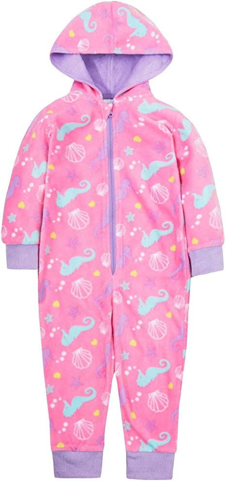 Lora Dora Girls Seahorse Onesie Hooded Fleece All in One Kids Novelty Zipped Jumpsuit Gift Size