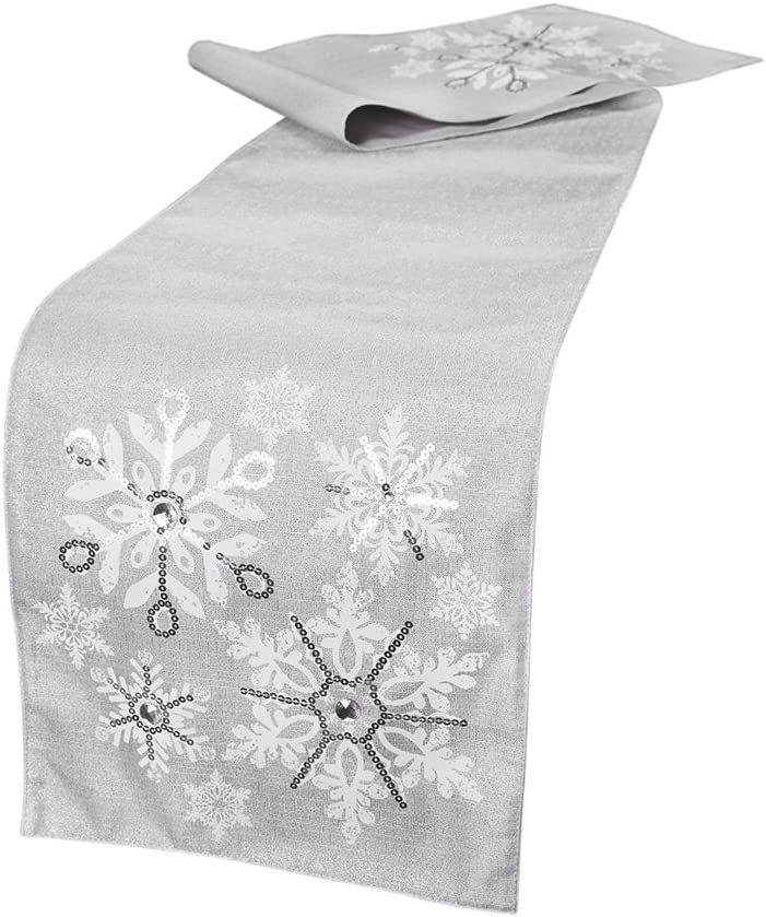 Manor Luxe Glistening Snow Deluxe Christmas 36-Inch Fees free Runner by Table 13