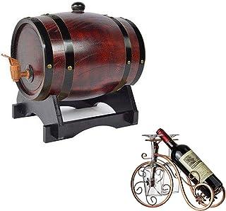 HWhome Fût De Chêne Horizontal 3L Casier à Vin Vintage en Chêne avec des fûts de chêne internes pour la vinification ou St...