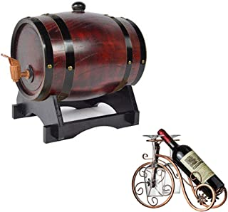 Tonneau à vin en Bois 3L Casier à Vin Vintage en Chêne avec des fûts de chêne internes pour la vinification ou Stockage de...