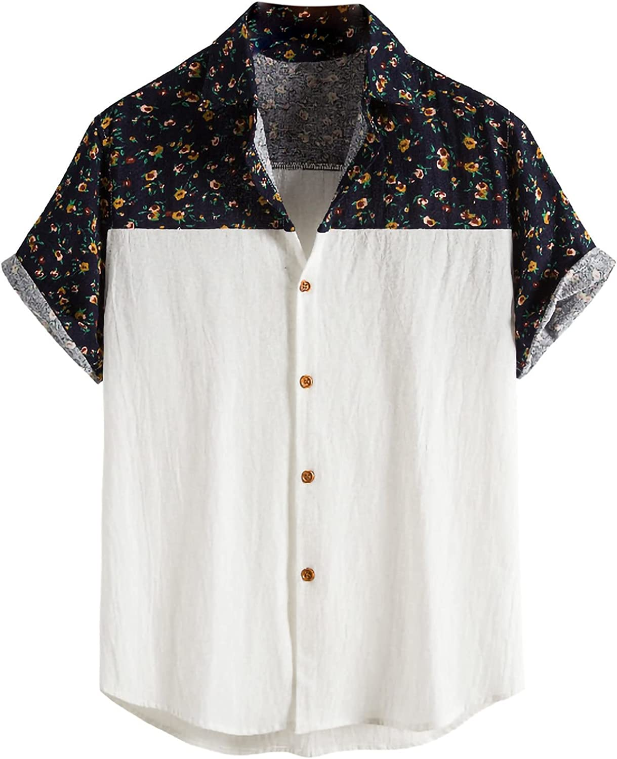 2021 Men's Short Sleeve Printed Hawaiian Casual Button Down Flower Beach Party Holiday Loose Shirts Tops