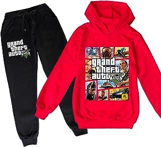 ZKDT Grand Theft Auto Sudadera con capucha con manga larga GTA 5 dibujos animados Casual Sudadera para niños y niñas