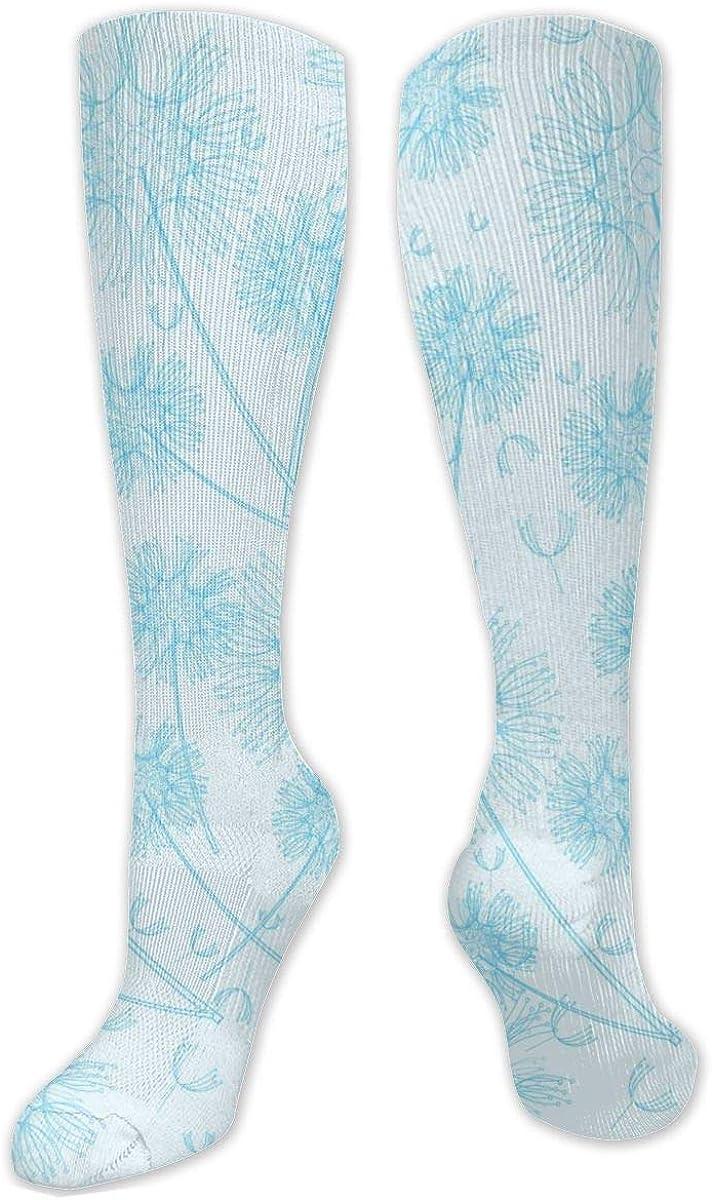 Blue Dandelion Pattern Knee High Socks Leg Warmer Dresses Long Boot Stockings For Womens Cosplay Daily Wear
