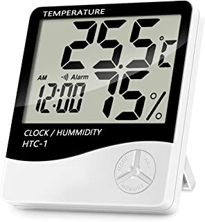 Indoor Digital Thermometer Hygrometer, Accurate Room Temperature Gauge Humidity Monitor with Alarm Clock - Easy to Read, M...
