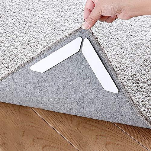 16 Stück Anti Rutsch Teppichunterlage Wiederverwendbar Teppich Aufkleber Teppichgreifer rutschfeste Waschbar Starke Klebrigkeit und Leicht zu Entfernen Teppich rutsch Stop Antirutschmatte für Teppich