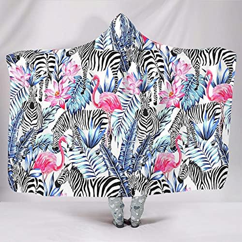 Fineiwillgo Manta con capucha con diseño de cebra y flamenco, muy suave y cómoda, para adolescentes, para dormir, sofá o sillón, color blanco, 150 x 200 cm