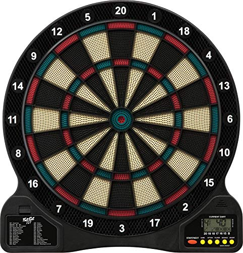 Fat Cat by GLD Products 727 Electronic Dartboard Value Size Over 15 Games and 132 Options Auto-Scoring Compact Display with Missed-Dart Throw Catch Ring Soft Tip Darts and Extra Points Battery Operated, multicolored, one size