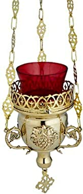 RIF Store N.G. Brass Hanging Ornate Votive Candle Holder with Red Glass for Church Supply #A-1-3763