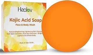 Kojic Acid Soap Face & Body Wash – Natural Brightening Skin Cleanser Dark Spot Corrector Acne Scar Remover – Brightens Ski...