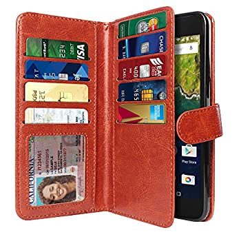 NEXTKIN Case Compatible with Huawei Google Nexus 6P Leather Dual Wallet Folio TPU Cover 2 Large Pockets Double Flap Multi Card Slots Snap Button Strap for Google Nexus 6P - Dark Brown