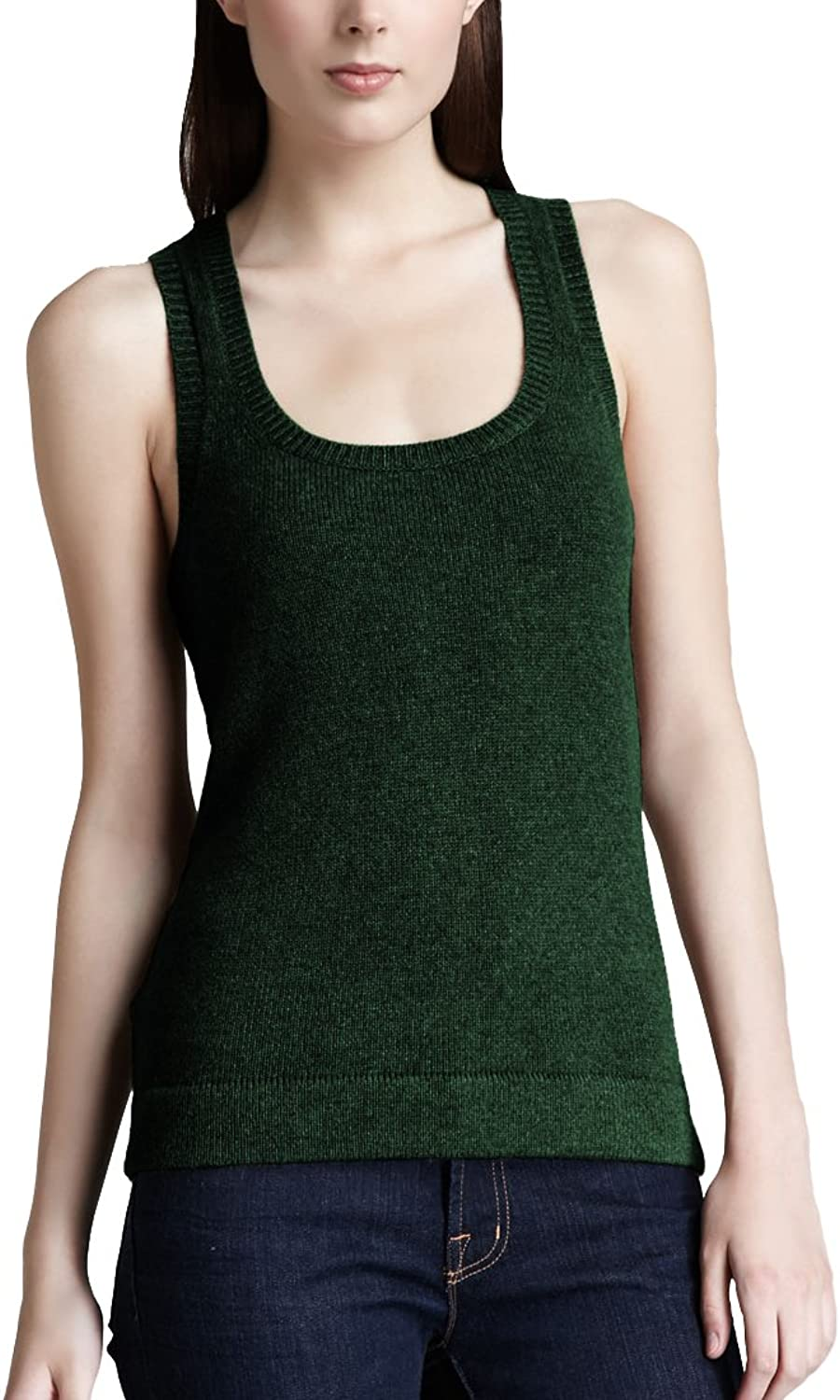 Parisbonbon Women's 100% Cashmere Racer Back Tank Top
