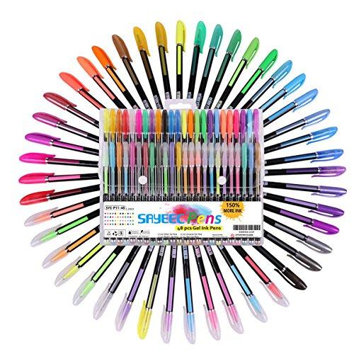 KXF ジェルボールペン カラーペン 48本セット 4種類のペン 中性筆ゲルペン 蛍光ペン+メタリックペン 閃光ペン+水チョークペン 極細線幅0.1cm カラフル