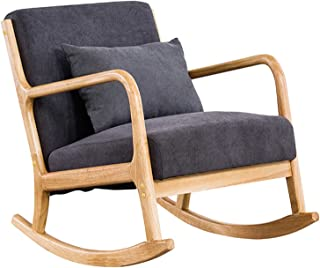 Rocking Chair, Upholstered Lounge Rocker Armchair, Fabric Accent Armchair, Padded Seat Accent Leisure Relaxing Chair for N...