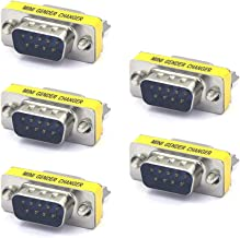 VCE 5 Pack DB 9 Pin Male to Male Mini Gender Changer Adapter Connector