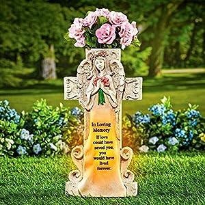 New Statue Solar Memorial Flower Cross Vase – Figurine Grave Cemetery Marker Beloved Departed 5.25″ L x 3.25″ W x 10.00″ H