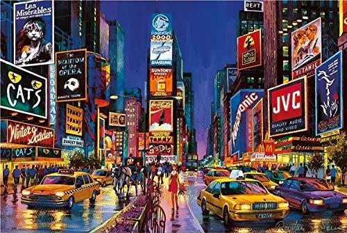 WDZSHLGG Puzzle New York Times Square Luminoso 1000 Piezas Bosque Planta Animal Paisaje Océano Descompresión Juego