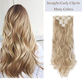17-26 Inches 145G Long Straight Curly Clip In On Hair Extensions Synthetic 8 PCS 18 Clips Thick Full Head Hair Pieces Colorful Highlight Ombre For Women (24''-Curly,sandy blonde&bleach blonde)