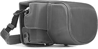 MegaGear Ever Ready Leder Kameratasche mit Trageriemen kompatibel mit Olympus Pen E PL10, E PL9 (14 42mm)