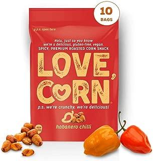 HABANERO LOVE CORN - 1.6oz (10 BAGS) Crunchy Corn, Gluten-free, Vegan, Non-GMO, Sugar-Free, Spicy Snack