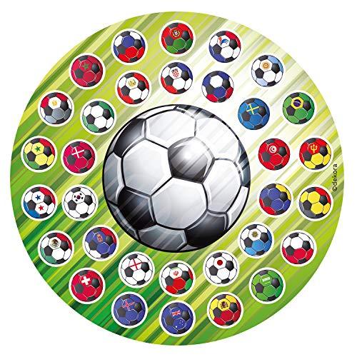 Dekora - Disco Comestible de Balon de Futbol para Decoración de Tartas de Cumpleaños - 16 cm