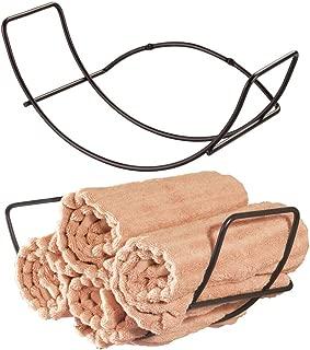 mDesign Modern Decorative Metal Bathroom Wall Mount Towel Rack Organizer for Storage of Bath Sheets, Washcloths, Hand or Face Towels - 2 Pack - Bronze
