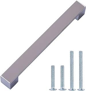 AmazonBasics Short Modern Cabinet Handle Drawer Pull, 8.9 Inch Length, 7.56 Inch Hole Center, Polished Chrome, 10-Pack