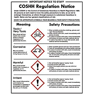COSHH Regulations Sign Notice Safety Plaque Poster Commercial 350X270mm