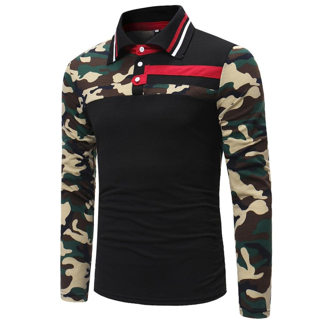 Camisas hombre Los hombres de la solapa de la caída de costura Camisetas camiseta tops,YanHoo® Mens Casual manga larga camisa negocio Slim Fit Camisas de Colorido blusa Cómodo (Negro, XL): Amazon.es: Iluminación