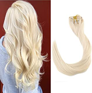 Full Shine 18 inch Remy Hair Extensions Color #60 White Blonde Clip Ins Real Human Hair Clip Hair Extensions Silky Straight Blonde Clip Hair Extensions Double Weft 100g 9pcs Per Set