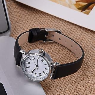 Huairdum Mini Reloj pequeño, Reloj de Vestir para Mujer Exquisito para Amigas para colegas(Black Belt White Plate)