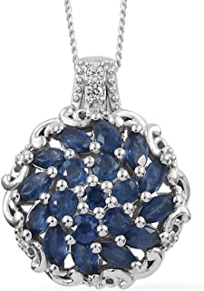 Kanchanaburi Blue Sapphire Zircon Pendant Necklace 20