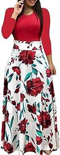 Fankle Women's Dress Bohemian Polka Dots Floral Print Maxi Dress O-Neck Long Sleeve A-Line High Waist Long Beach Dresses C...