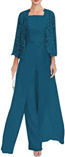 Women's Lace Dress 3 Piece Mother of The Bride Pant Suits Long Sleeve with Jacket Evening Cocktail Dresses